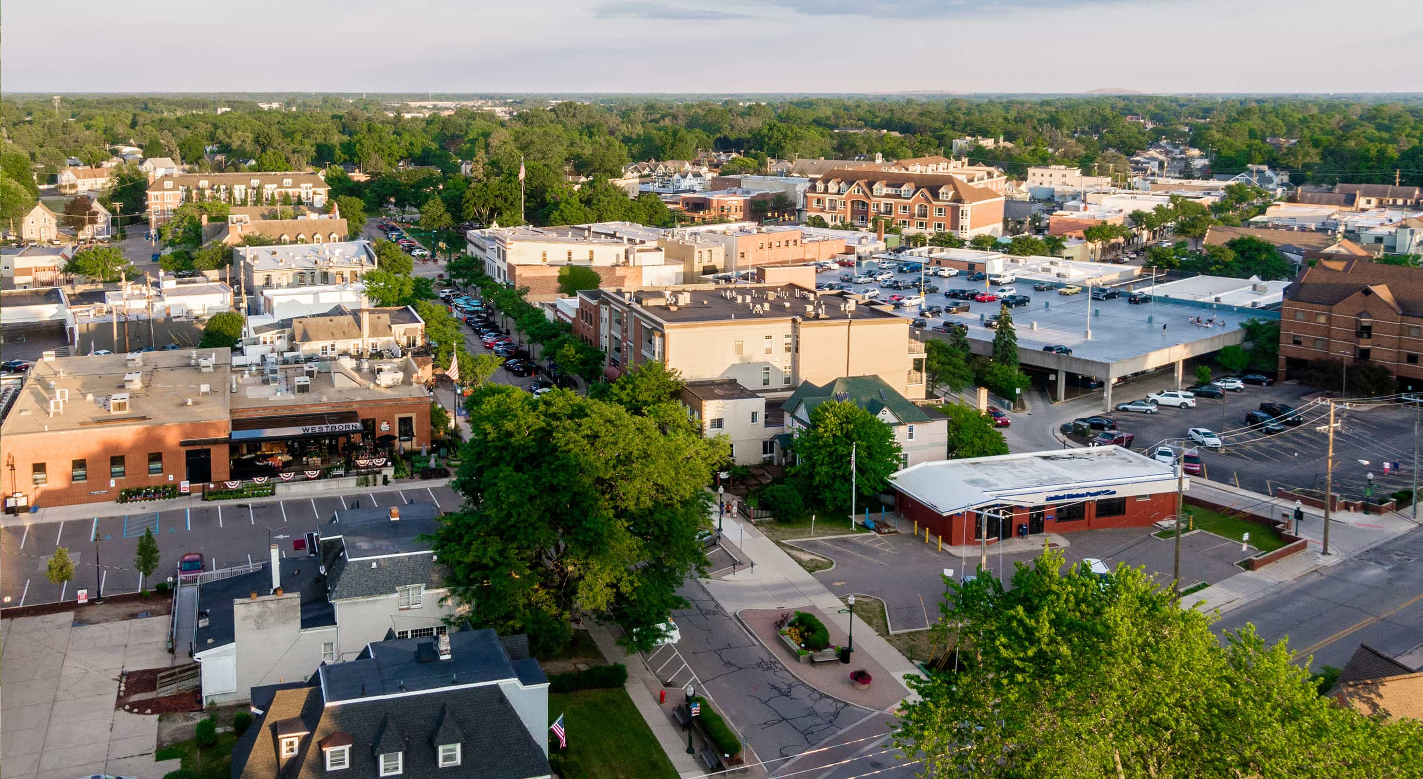 Downtown Plymouth, Michigan in daytime