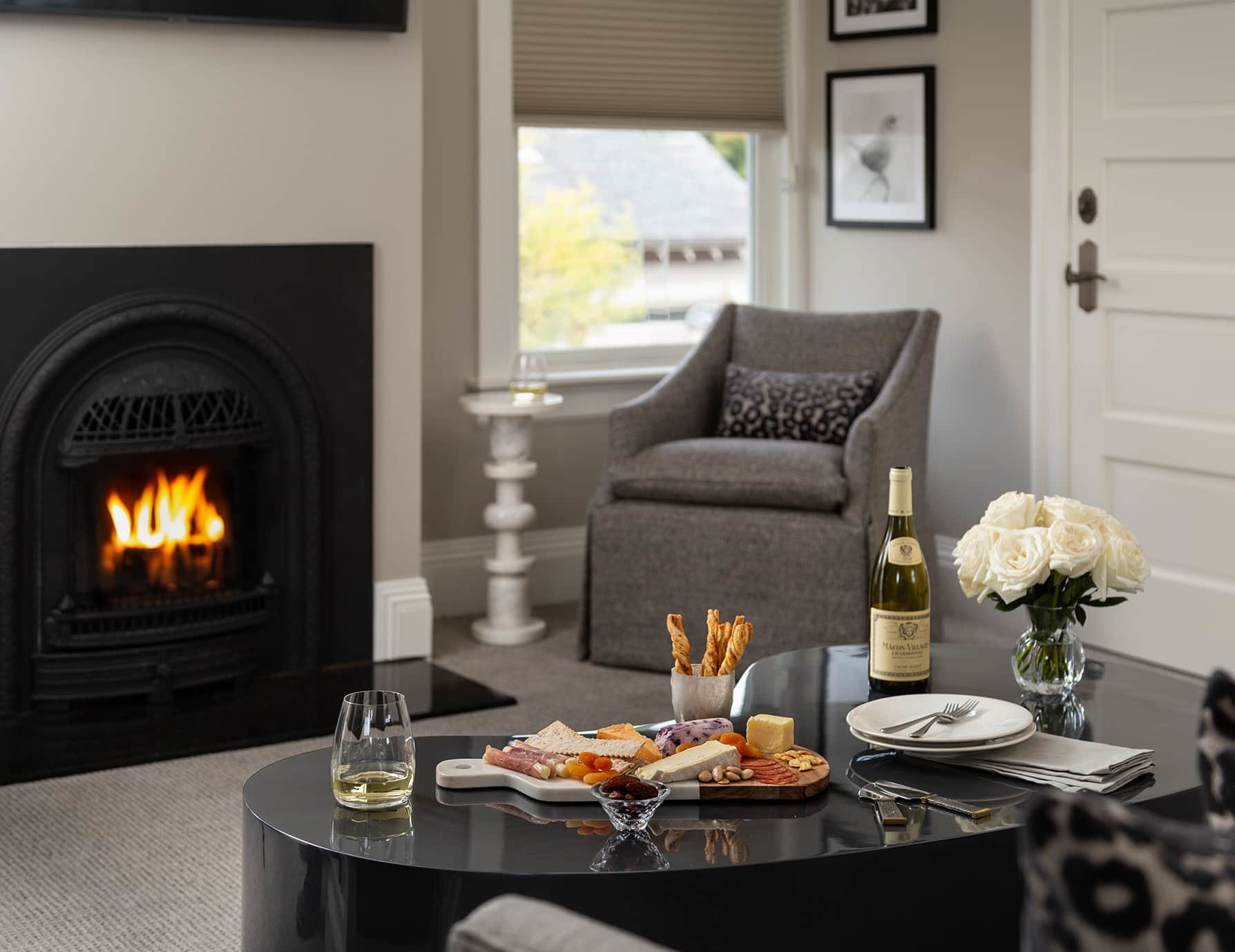 Lark Suite seating area with fireplace